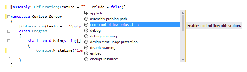 Eazfuscator.NET IntelliSense Suggestions