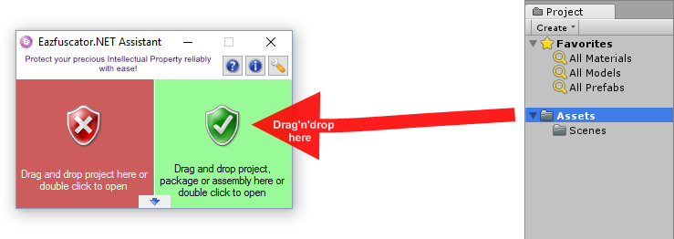Unity project drag and drop into the green zone of Eazfuscator.NET Assitant