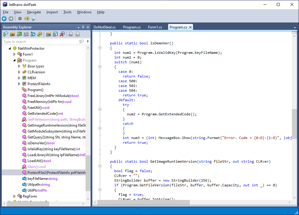 NetWinProtector assembly viewed in JetBrains dotPeek decompiler