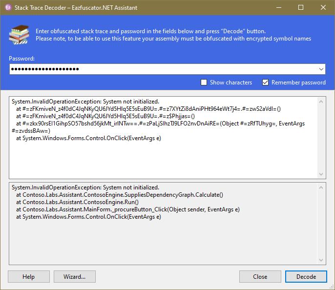 Eazfuscator.NET Stack Trace Decoder